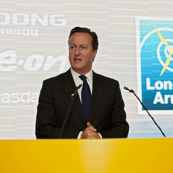 Prime Minister, David Cameron, speaking at the London Array Inauguration