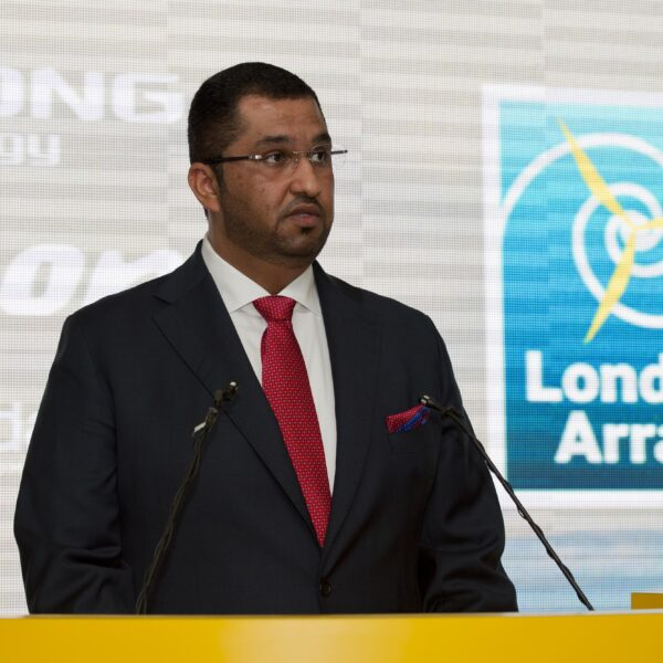 H.E Dr. Sultan Ahmed Al Jaber UAE Minister of State and CEO of Masdar, speaking at the inauguration of London Array